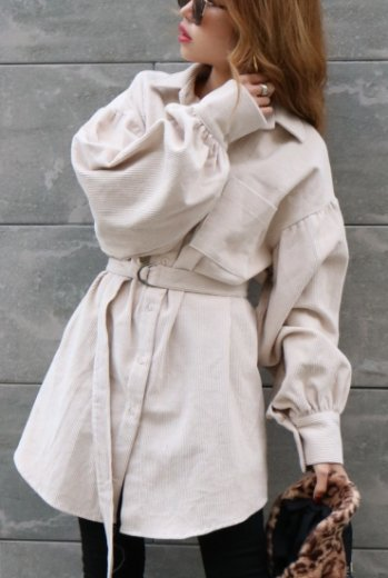 2way corduroy shirt dress (belt set) / ivory