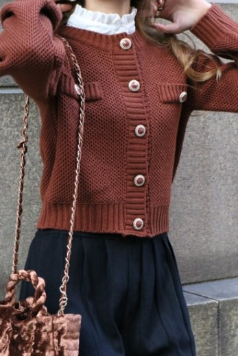 gold bijou button compact knit tops / brown