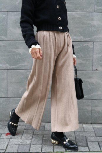 waist gather rib wide pants / beige