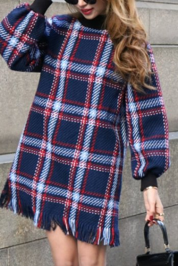 <img class='new_mark_img1' src='https://img.shop-pro.jp/img/new/icons20.gif' style='border:none;display:inline;margin:0px;padding:0px;width:auto;' />high neck check pattern fringe tweed dress / navy