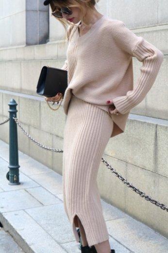 asymmetry design rib tops & rib skirt 2 piece set / beige