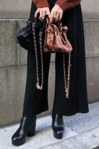 2way chain shoulder velors purse bag / black / brown