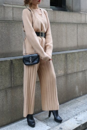 rib knit tops & wide pants set up / beige