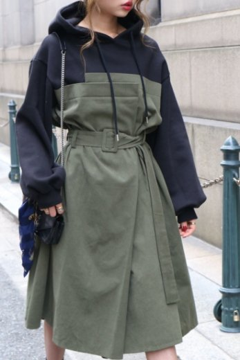 parka docking flare dress (belt set) / khaki