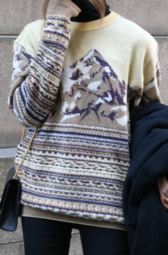 【vintage】KENZO / crew neck patterned all over knit tops