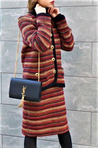 【vintage】Yves Saint Laurent / no collar jacket & narrow skirt set up