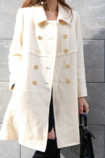 【vintage】Yves Saint Laurent / double gold logo button lamb wool long coat / ivory