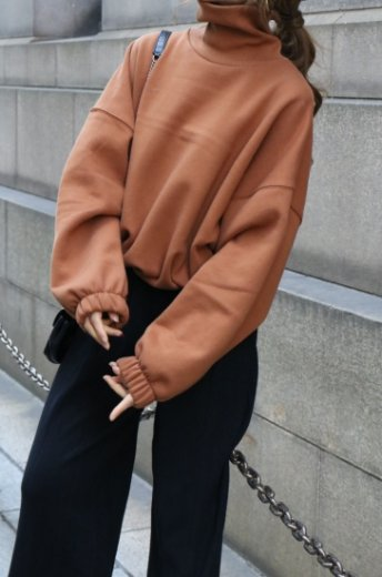 <img class='new_mark_img1' src='https://img.shop-pro.jp/img/new/icons20.gif' style='border:none;display:inline;margin:0px;padding:0px;width:auto;' />turtle neck wide sleeve sweat tops / brown