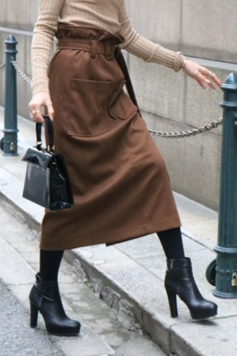 <img class='new_mark_img1' src='https://img.shop-pro.jp/img/new/icons20.gif' style='border:none;display:inline;margin:0px;padding:0px;width:auto;' />make gather long tight skirt(belt set) / brown