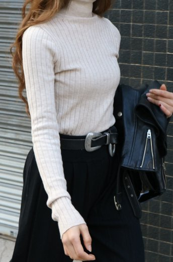 turtle neck rib knit tops / beige