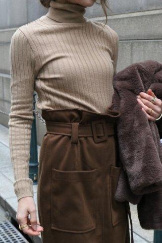 turtle neck rib knit tops / mocha