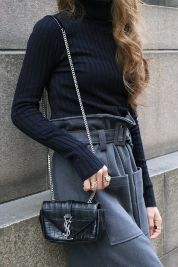 turtle neck rib knit tops / black