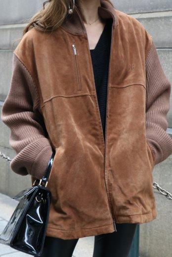 【vintage】KENZO / rib sleeve docking cowhide blouson