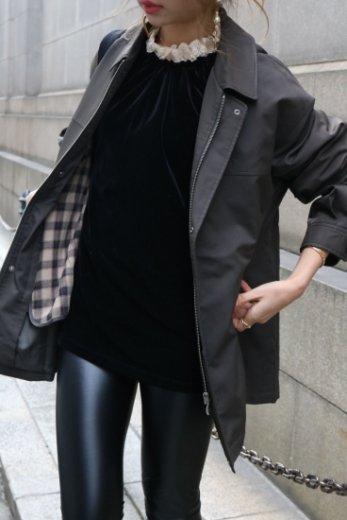 【vintage】Yves Saint Laurent /  front zip embroidery logo convertible collar coat / khaki