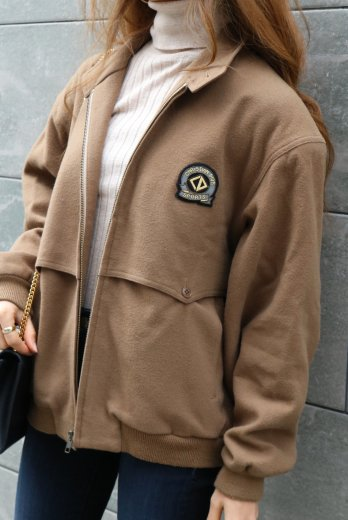 【vintage】Christian Dior / embroidery logo patch stand color blouson / brown