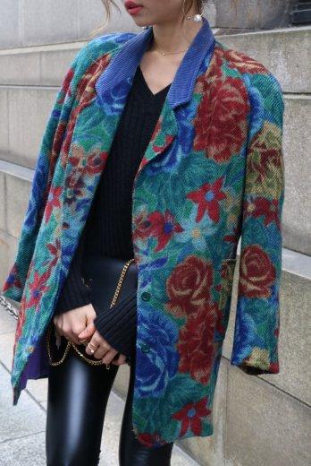 【vintage】KENZO / flower pattern corduroy yoke notched lapel color wool jacket
