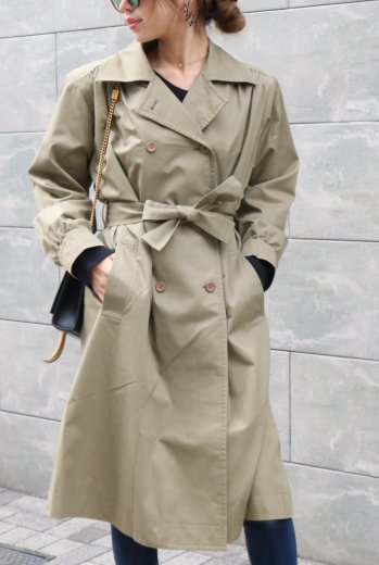 【vintage】Yves Saint Laurent /  trench coat (belt ribbon set) / olive