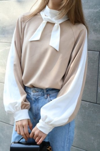 bicolor front ribbon side line tops / beige × white
