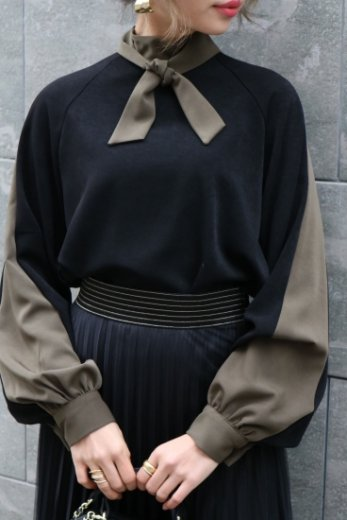 bicolor front ribbon side line tops / black × olive