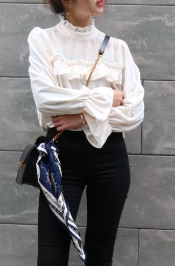 front see-through stand frill collar velours tops / ivory
