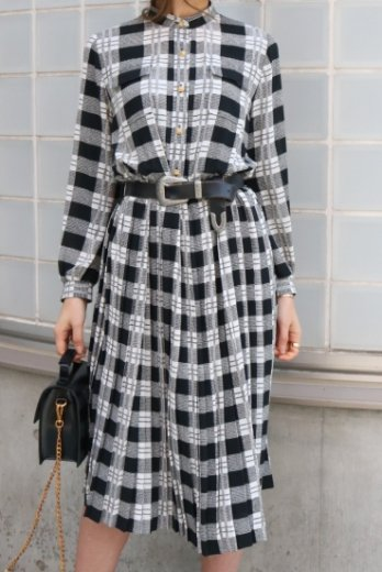 【vintage】stand collar check pattern pleats dress