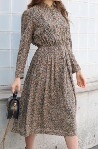 【vintage】stand collar gold thread paisley pattern flare dress