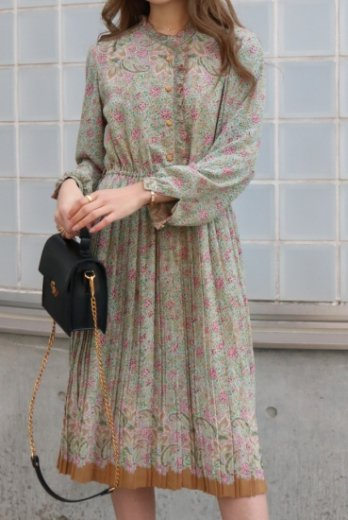 【vintage】stand frill collar paisley pattern pleats dress