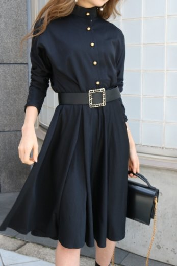 【vintage】stand collar front gold button black dress