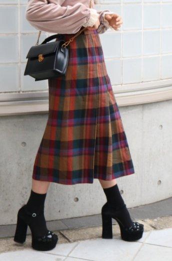 【vintage】multi collar check pattern pleats skirt