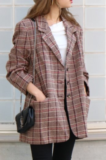 【vintage】single button check pattern tailored jacket