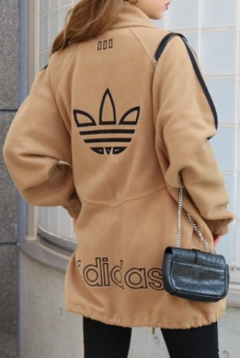 【vintage】adidas / 90's big trefoil mark side line freece jacket / beige
