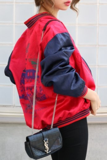【vintage】adidas / 90's bicolor nylon jacket / red × navy