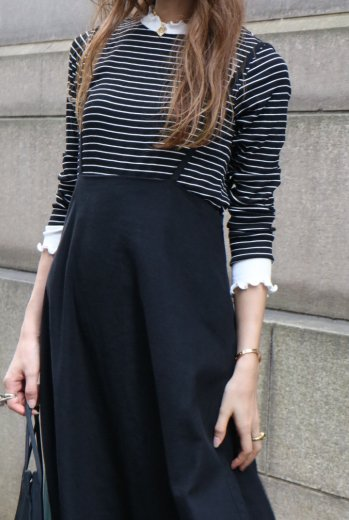 bicolor frill neck stripe pattern tops / black