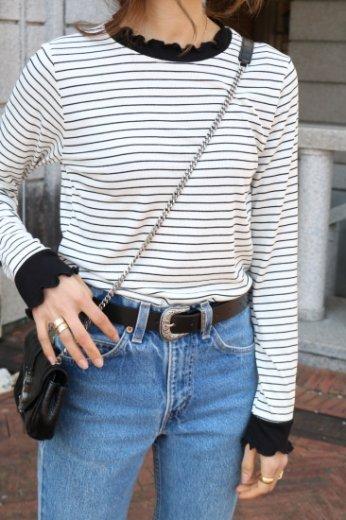 frill neck stripe pattern rib tops / white