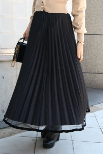 waist gather velours piping tulle skirt / black