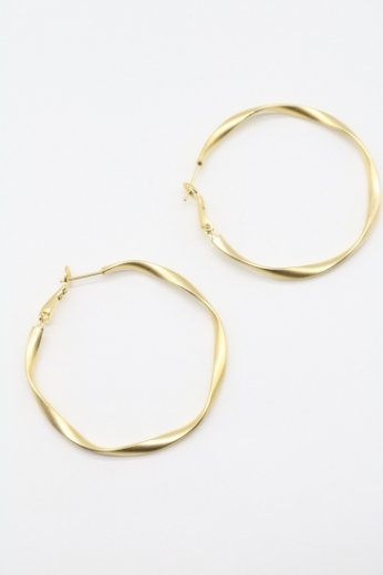 gold twisted hoop pierced earrings