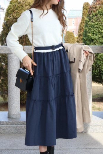 cotton skirt docking dress (belt set) / white×navy