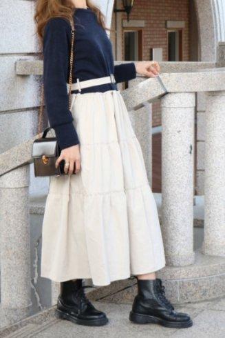 cotton skirt docking dress (belt set) / navy×beige