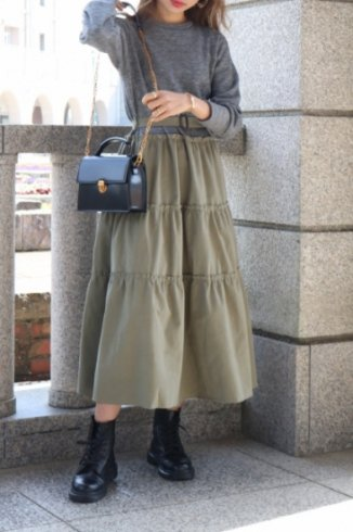 cotton skirt docking dress (belt set) / gray×khaki