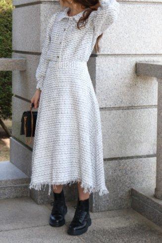 front bijou button tweed jacket & fringe skirt set up