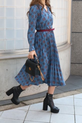 wrap design retro patterned all over pleats dress (belt set)