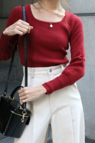 square neck compact rib knit tops / red