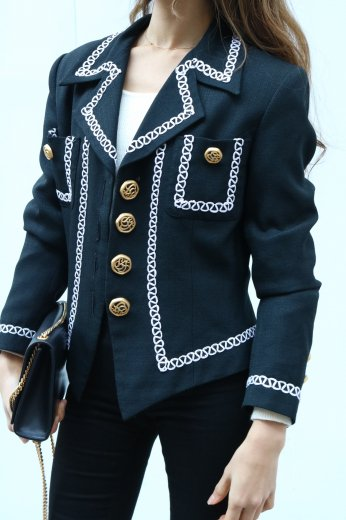 【vintage】retro gold button white piping jacket / black