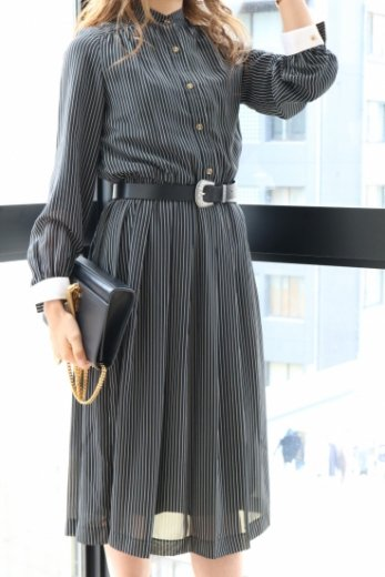 <img class='new_mark_img1' src='//img.shop-pro.jp/img/new/icons14.gif' style='border:none;display:inline;margin:0px;padding:0px;width:auto;' />【vintage】stand collar stripe pattern flare dress