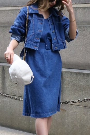 multi way jacket docking denim dress (belt set)