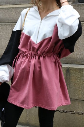 multi color side ribbon hoodie dress / white×pink×black