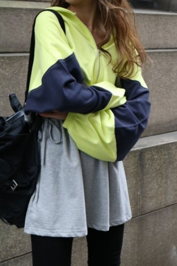 multi color side ribbon hoodie dress / neon×gray×navy