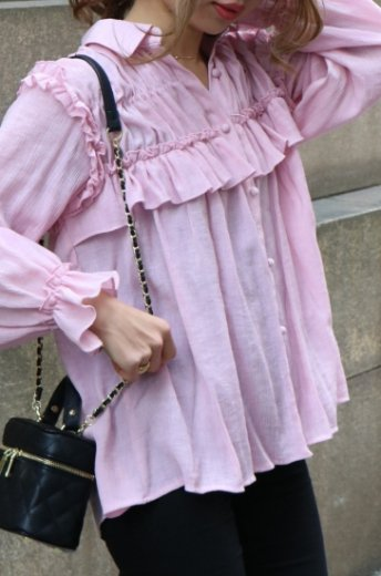 frill design shirring blouse / pink