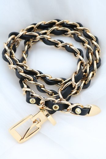 gold chain & fake leather combination belt