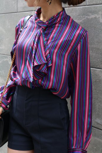 【vintage】scarf collar multi color stripe pattern blouse